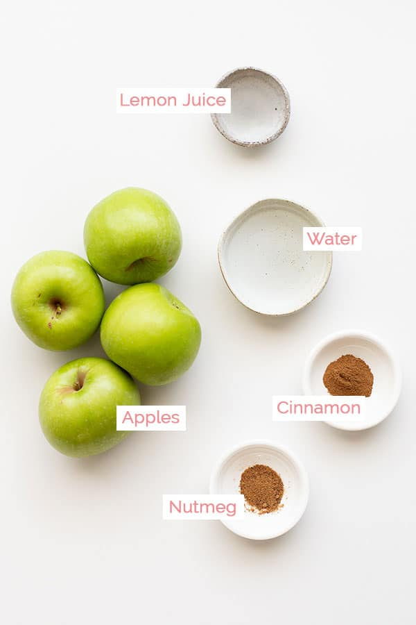 Ingredients for making applesauce.