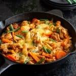 Spicy Korean Chicken stir fry in a pan.