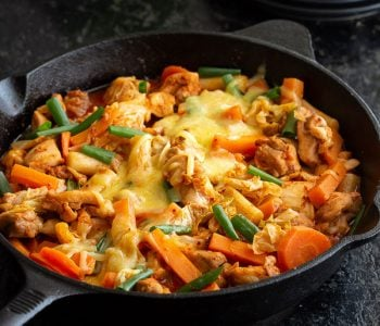 Spicy Korean Chicken stir fry in a pan.