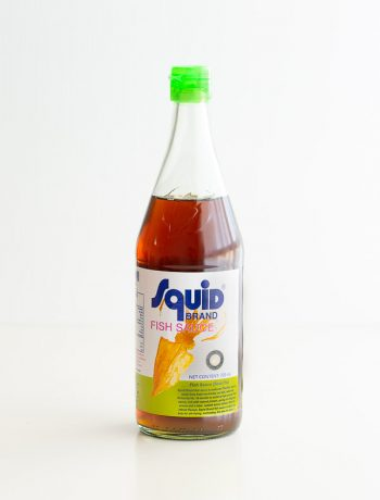 Bottle of Vietnamese Squid Brand Fish Sauce.