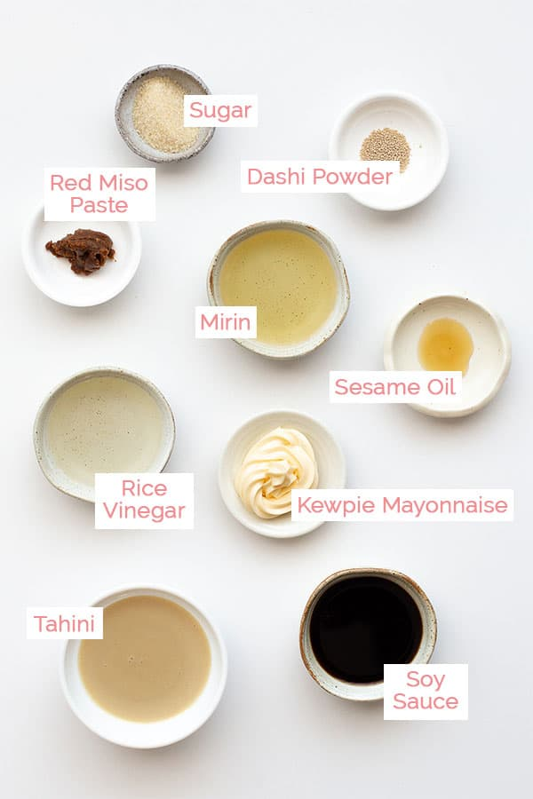Ingredients laid out for Japanese sesame sauce.
