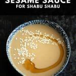 A shabu shabu sauce called goma dare in a blue bowl.