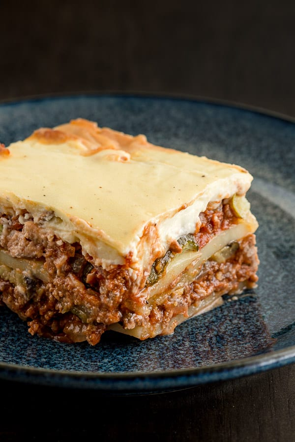 Close up of layers in a Greek moussaka bake.