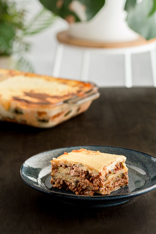 Slice of Greek moussaka ready to eat.