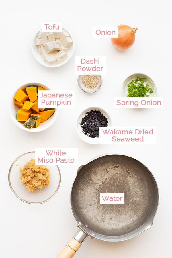 Ingredients laid out for the easy Japanese miso soup recipe.