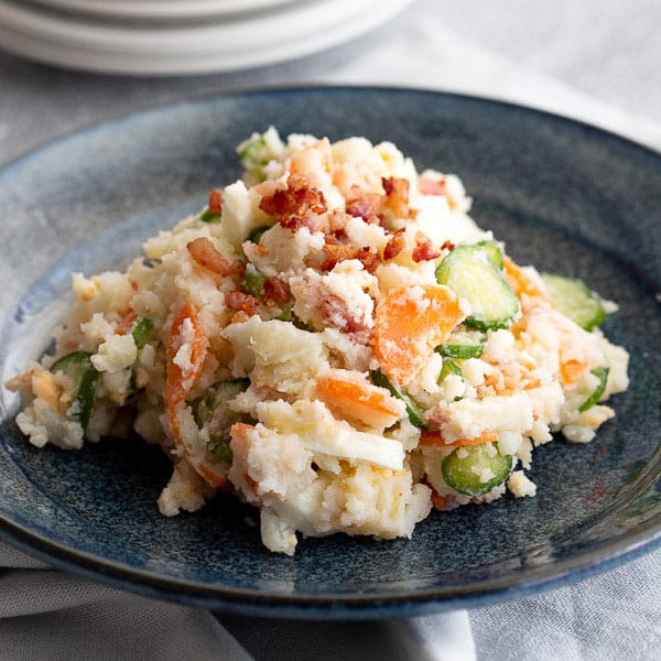 Chunky Japanese potato salad with carrot and cucumber.