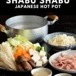 Ingredients laid out ready to make shabu shabu at home.