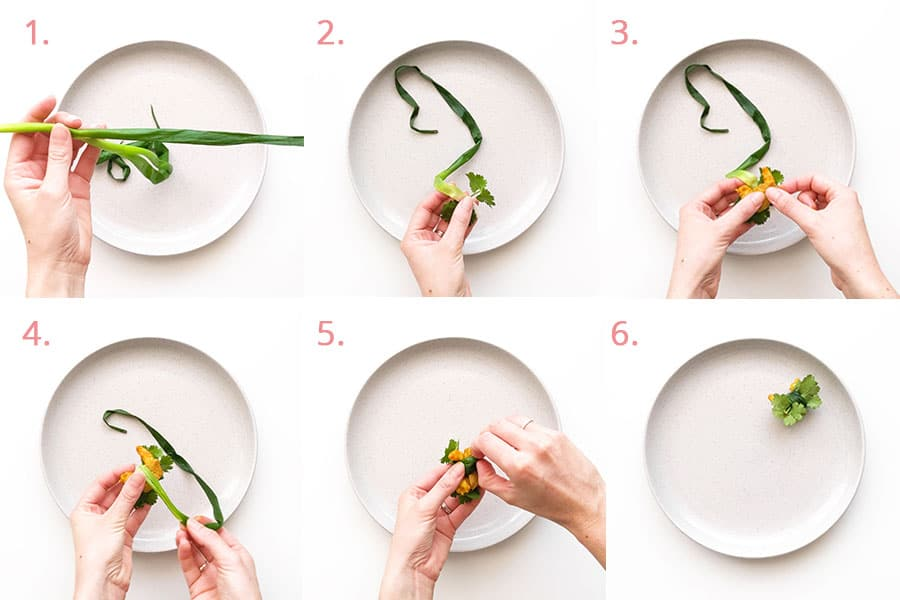 Step by step on how to assemble the spring onion rolls.