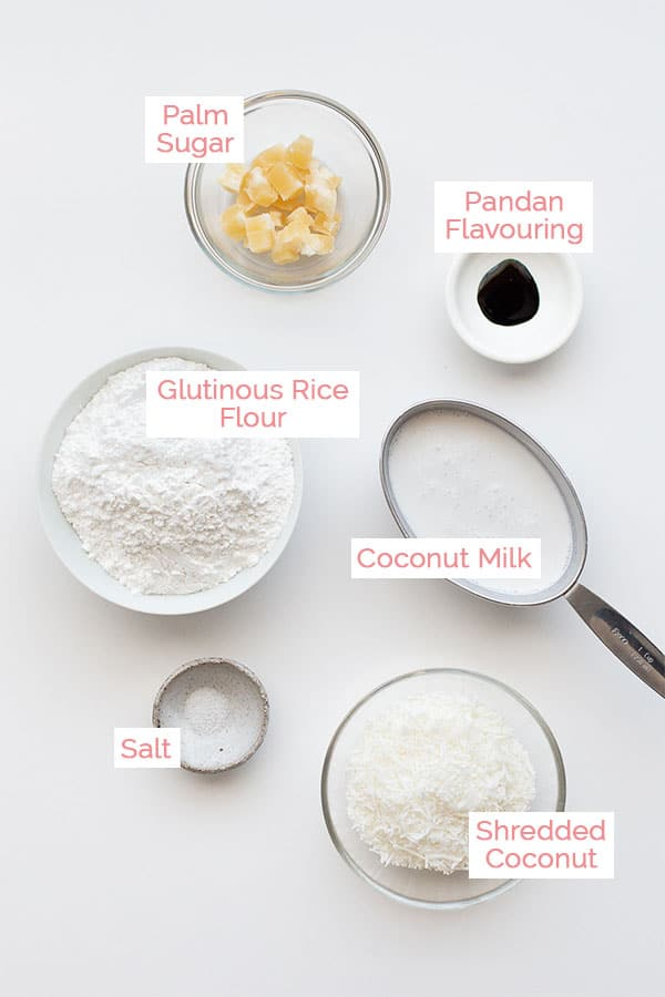 Ingredients laid out for klepon (onde onde).