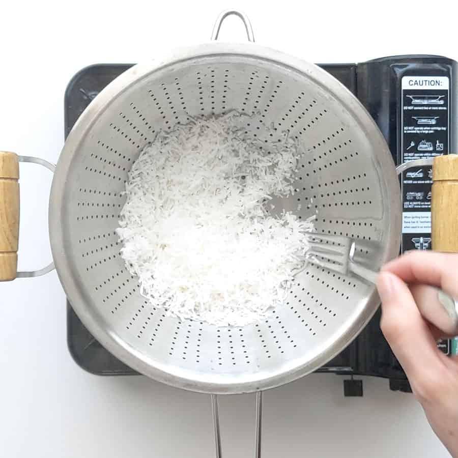 Steaming shredded coconut.
