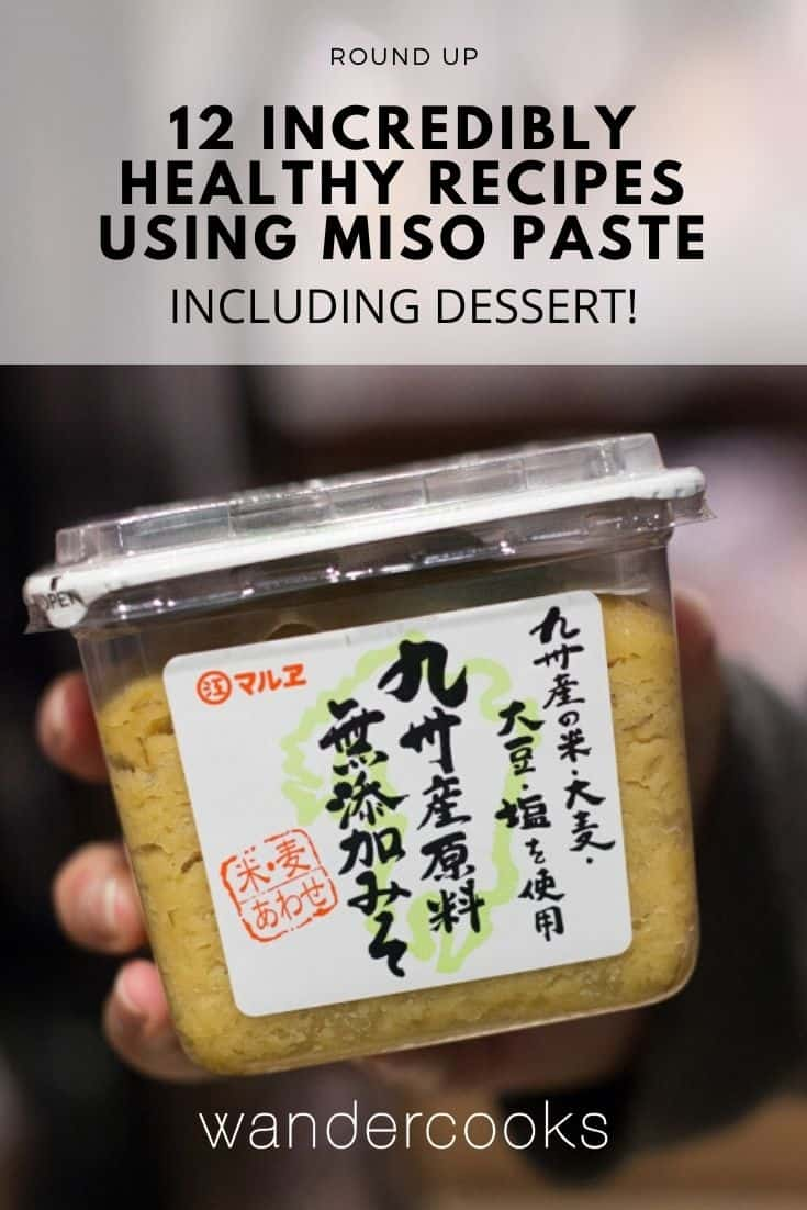 A plastic container filled with Japanese miso paste.
