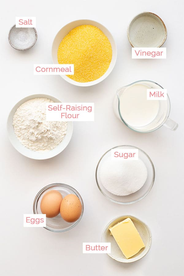 All the ingredients laid out for cornbread muffins.