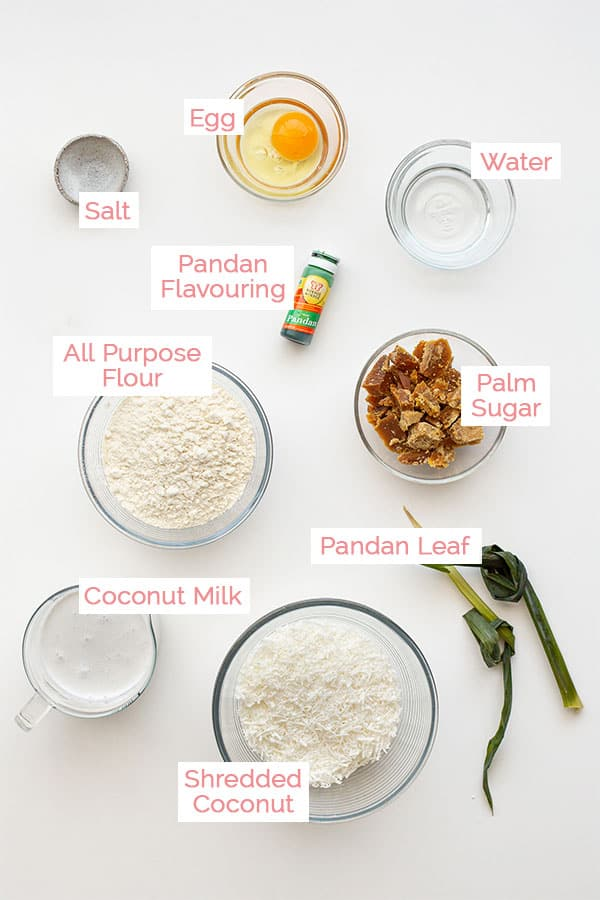 Ingredients laid out for Indonesian Dadar Gulung.