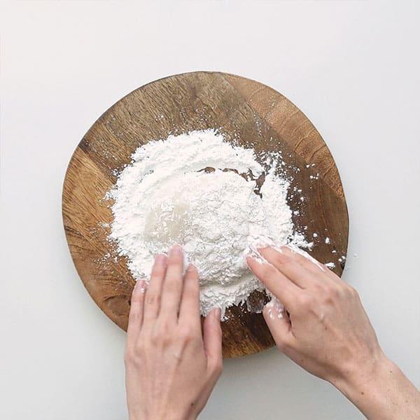 Flouring the mochi dough.