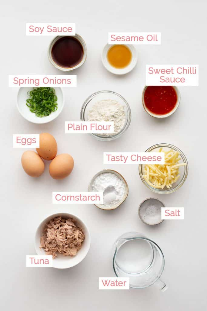 Ingredients laid out for dan bing pancakes.
