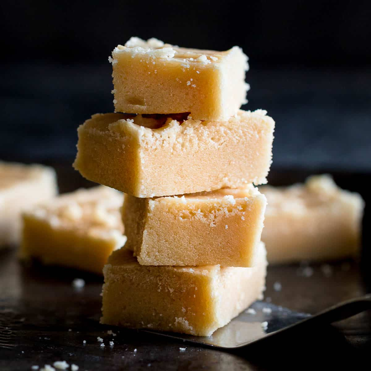 Stack of four pieces of Scottish tablet.