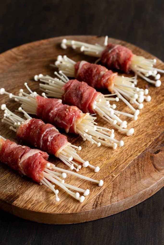 Enoki mushrooms wrapped in marinated beef.