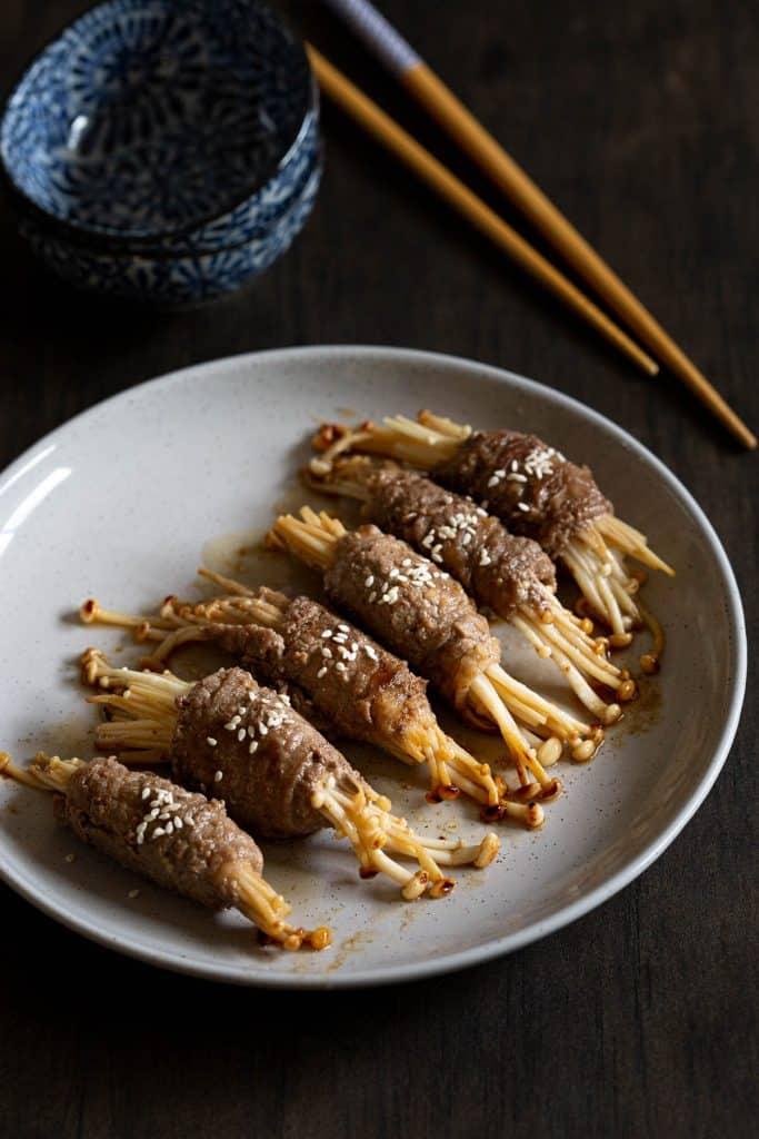 Cooked enoki beef rolls.