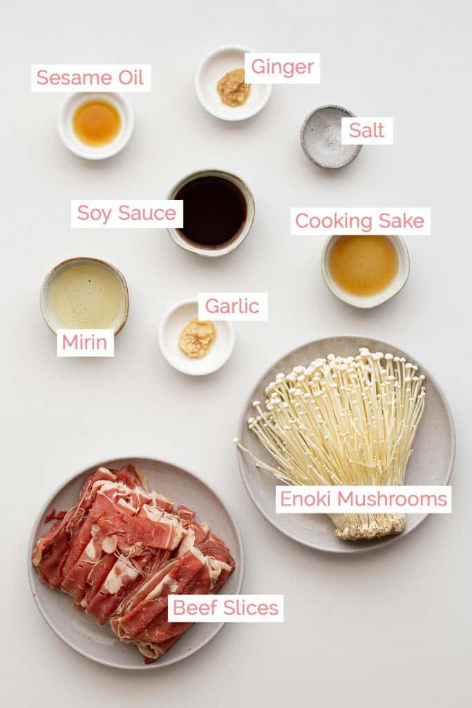 All ingredients laid out for enoki beef rolls.