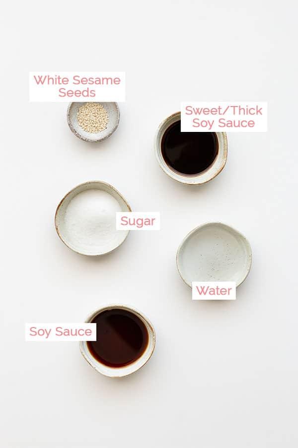 Ingredients for pandan chicken dipping sauce.
