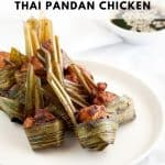 Fried Thai chicken, wrapped in pandan leaves.