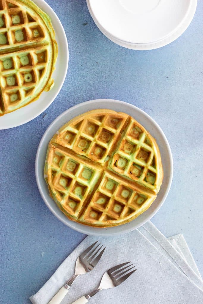 Top down view of cooked pandan waffles.