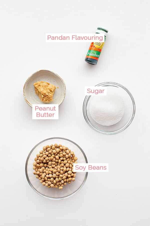 Ingredients laid out for homemade soy milk.