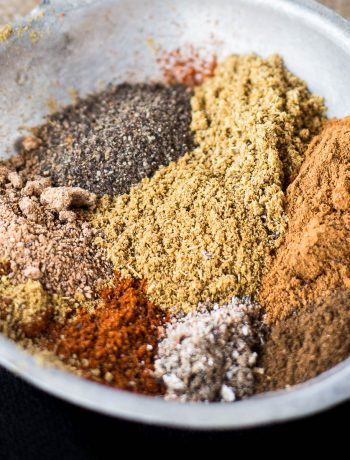 Bowl of spices to make baharat.