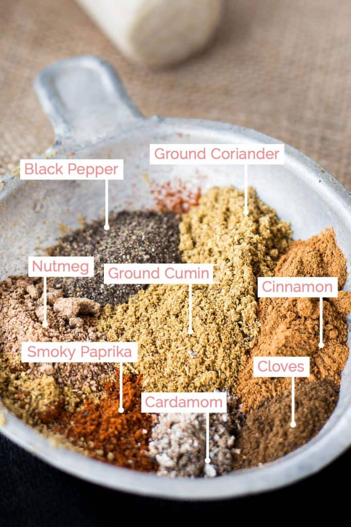 Ingredients in bowl for baharat spice mix with labels.