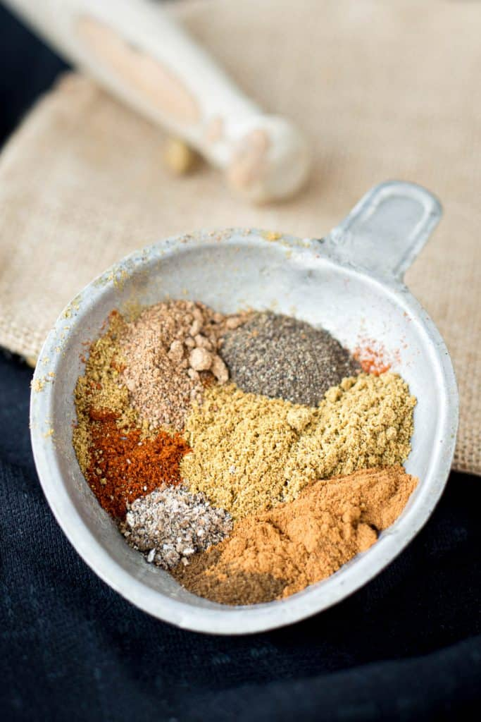 Spices in bowl before being mixed together.