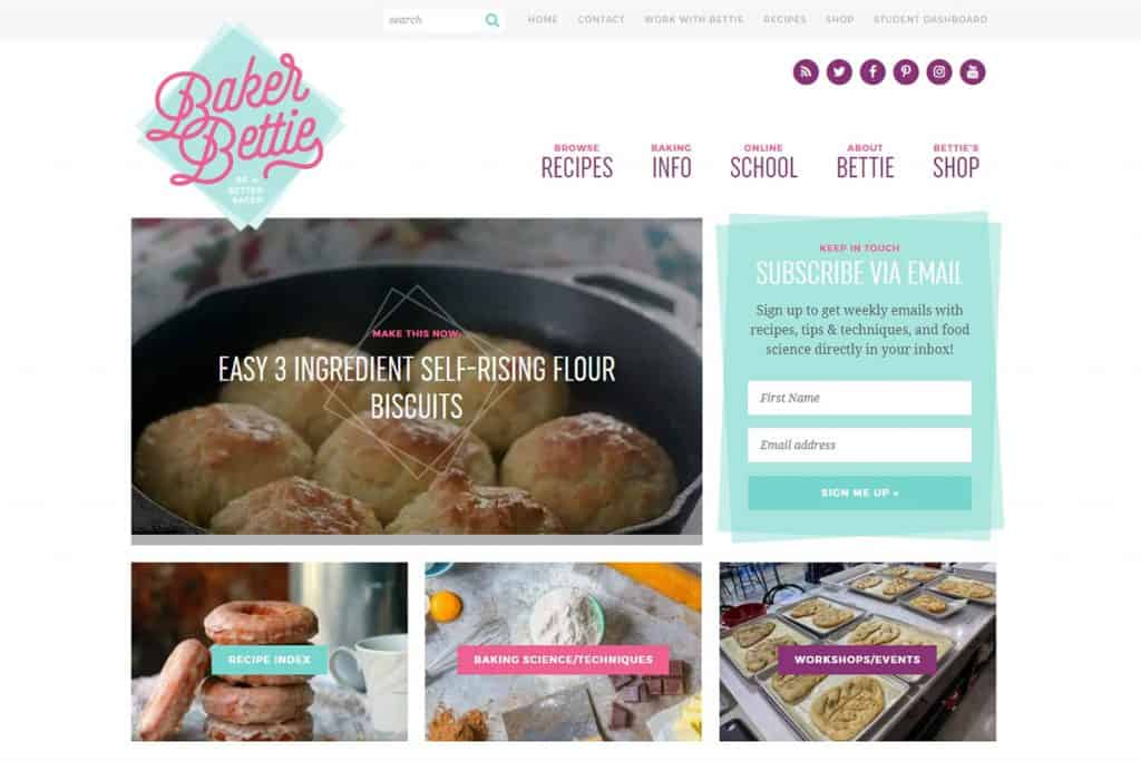Screenshot of the Baker Bettie website.