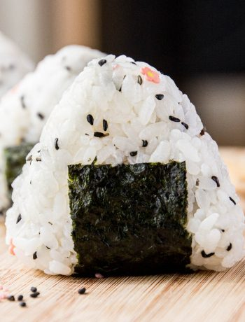 A closeup shot of a finished onigiri rice ball.