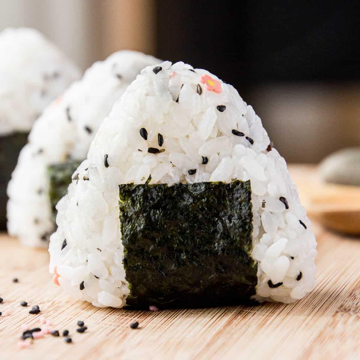A closeup shot of a finished onigiri rice ball.
