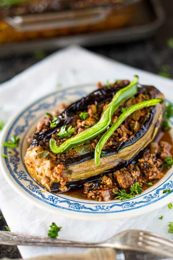 Baked eggplant stuffed with minced beef, vegetables and Turkish spices.