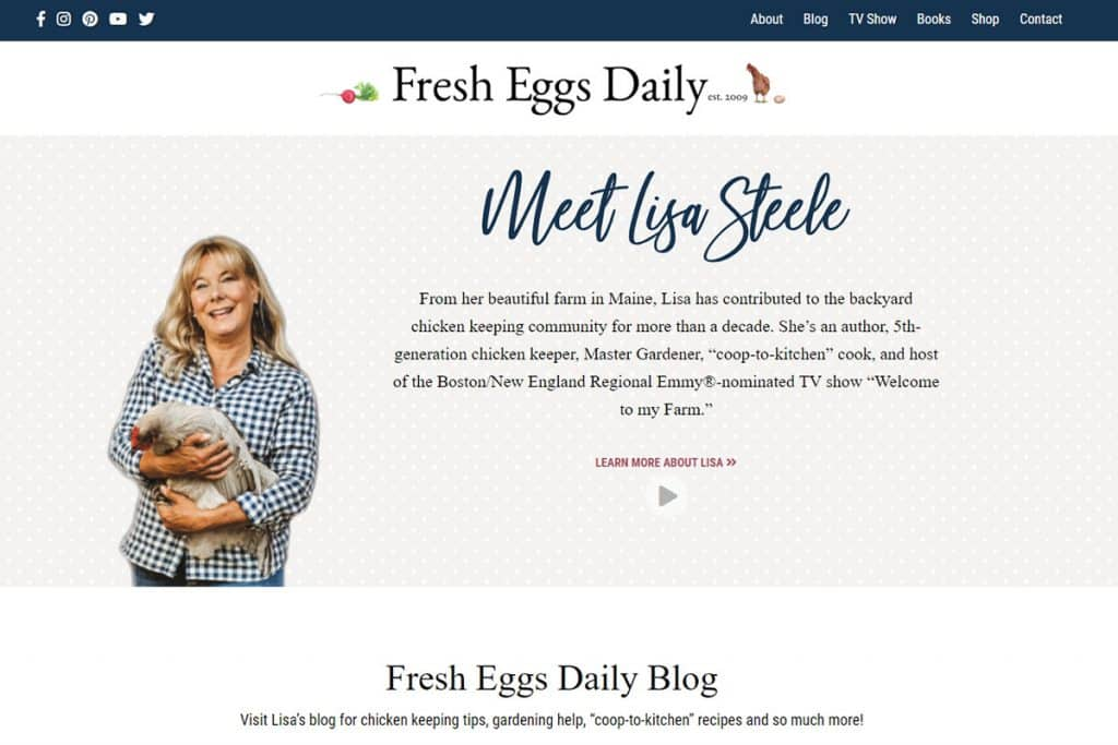 Screenshot of the Fresh Eggs Daily website.