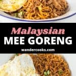 Two angles of mee goreng in a white bowl with a fried egg.