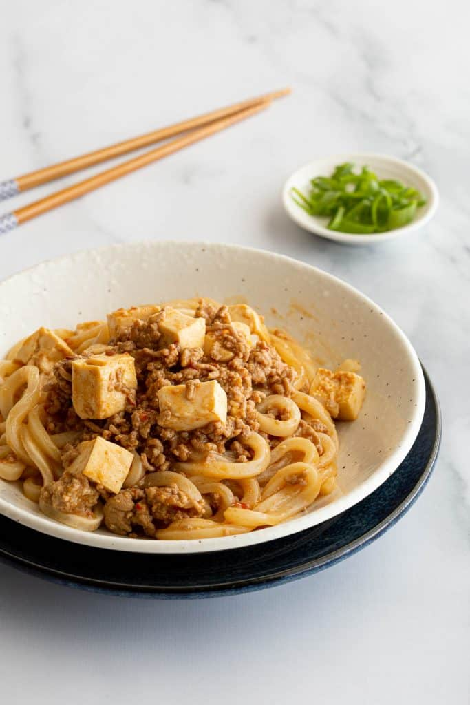 A bowl of udon noodles with mapo tofu sauce