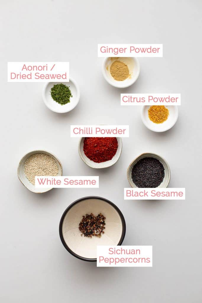 Ingredients laid out for Japanese 7 spice.