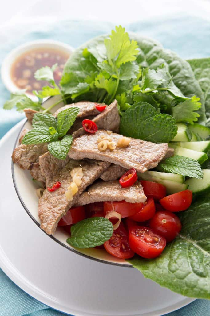 Close up shot of Thai beef salad showing the ingredients.