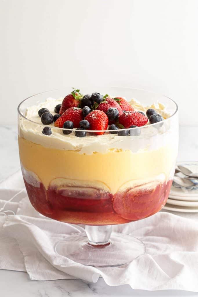 Australian trifle with custard and port wine jelly.