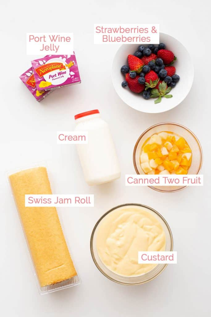Ingredients laid out for Australian Trifle.