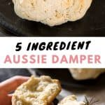 Two images of Australian damper rolls with rosemary.
