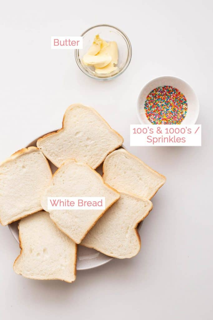 Ingredients for fairy bread.