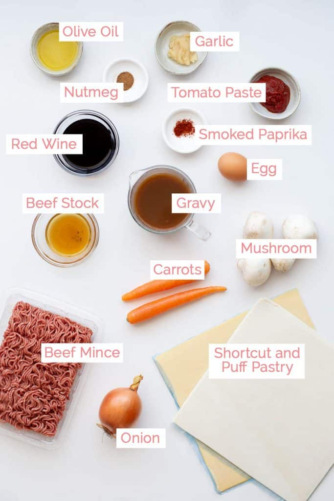 Ingredients laid out to make Australian party pies.