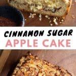 A collage of pictures showing cinnamon sugar apple cake.