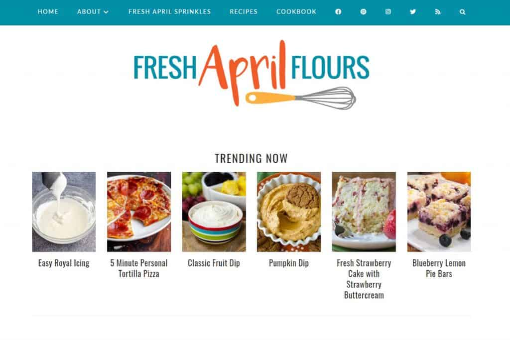Screenshot of Fresh April Flour's website.