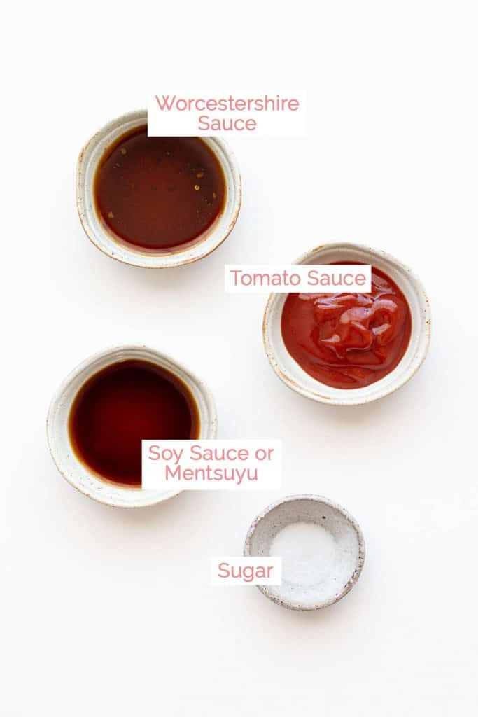 Ingredients laid out for Japanese okonomiyaki sauce.