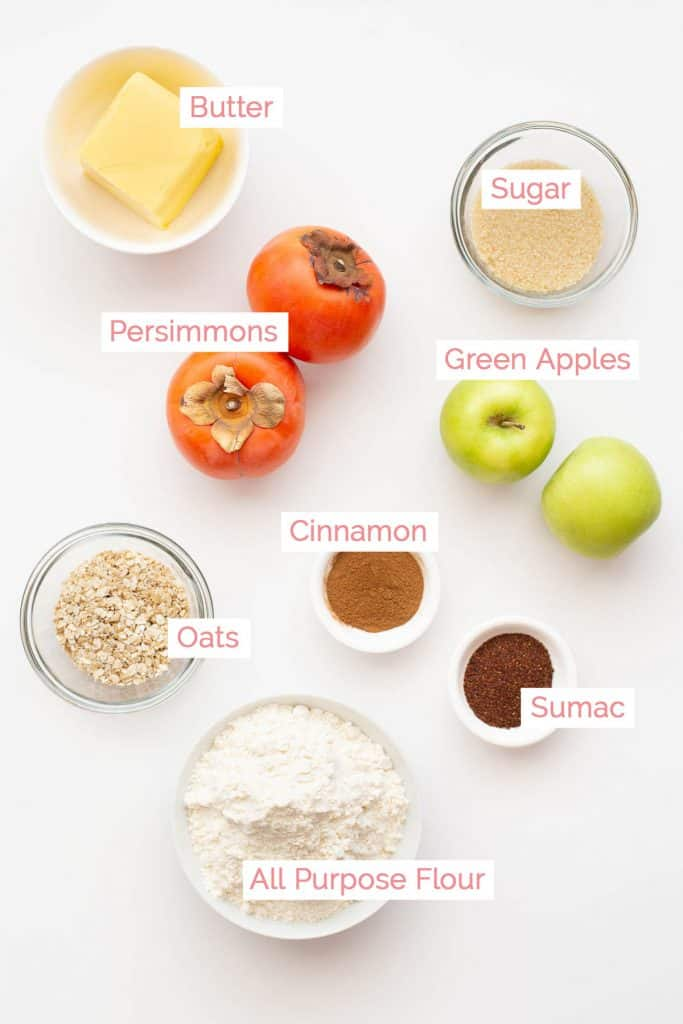 All the ingredients laid out for persimmon crumble pie.