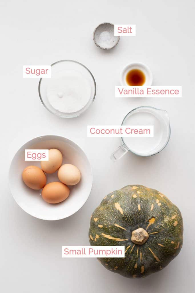 Ingredients laid out for Pumpkin Coconut Custard