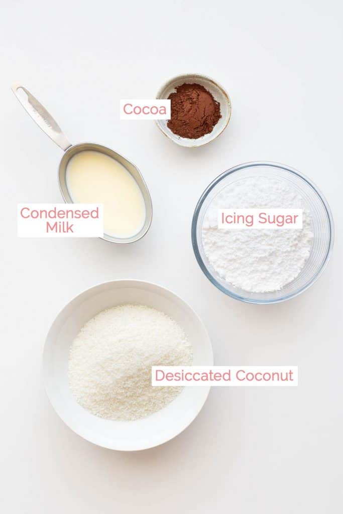 Ingredients laid out to make coconut balls called candy spuds.